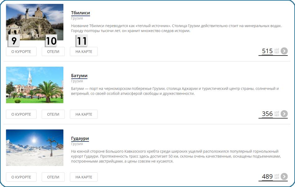 Как пользоваться каталогом стран и курортов